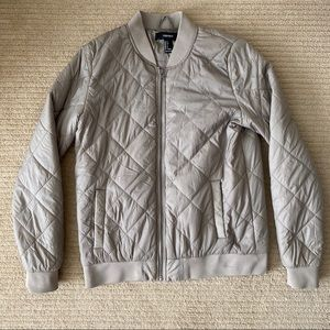 F21 Lightweight Quilted Taupe Bomber